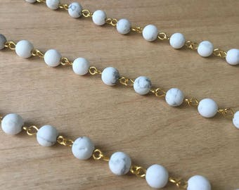 Gemstone Bead Chain White Marble Bead Chain 6mm Round Beads on Gold Wire Necklace Bracelet Rosary Chain Jewelry Making (EC179)