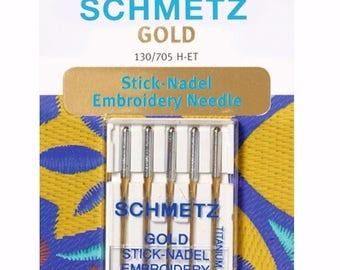 Schmetz Gold Titanium Embroidery Needles Size 75