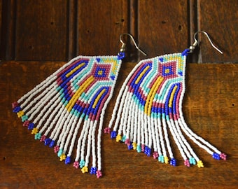 Beaded fringe earrings, seed bead earrings, summer earrings, behandosn, boho jewelry, native american style, boho earrings, fringe earrings