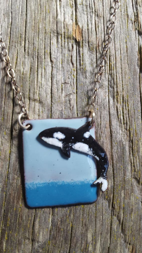 Orca Whale Enameled Necklace