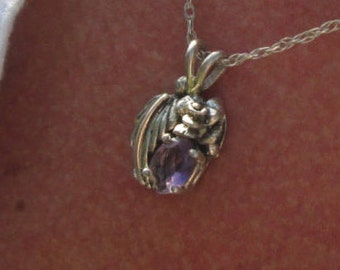 Vintage Amethyst and Sterling Feather Pendant Necklace