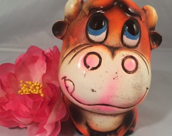 RARE Ceramaster Kitschy Bull Bank, Bright Colors, Hand Painted Plaster Ware Mod Bank, Paper Mache,