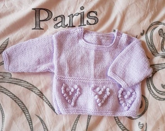 Lilac handknitted sweater with shoulder buttons, size 0 - 3 months