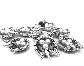 9 bracelet charms birds nest and eggs silver 24mm