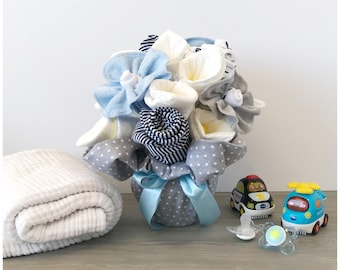 First Mother's Day Gift Bouquet - New Baby Boy Gift Clothing Bouquet - Washcloth Bouquet for Boy - Baby Shower Gift /Bouquet for Boy