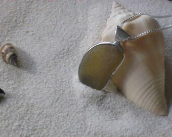Citrine Colored Lake Erie Beach Glass Pendant