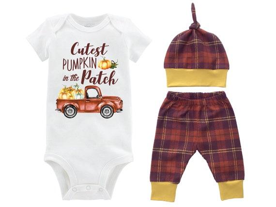 Boy Cutest Pumpkin in the Patch Fall Outfit Mustard Orange Fall Plaid Pumpkin Onesie Bodysuit Pants Leggings Baby Gift Top Knot Hat Boy