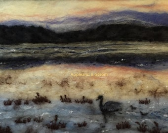 Swans,Signets,Sunset,Wool,Felt,Bullrush,Landscape,Water,Nature,Picture,Wildlife Landscape,Textile Art,Interior Decor,Embroidery,Silk