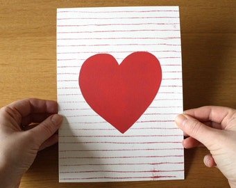 Heart Print - Heart Artwork - Red Heart - Red Art Print - Love art - Valentine art - Wedding Gift - Red Artwork - Giclee print