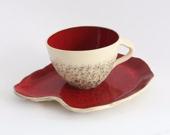 Red Teacup with Saucer, wheel thrown teacup, stoneware cup, handmade mug, Cappuccino Cup, Big coffee cup, Pottery ceramic mug, Birthday gift