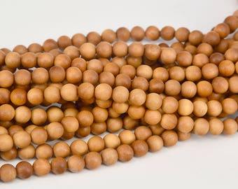 108pc  8mm Sandalwood  Mala Bead , Loose Yellow sandalwood beads