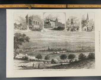 Bedford, the Meeting Place of the Royal Agriculture Society Large Antique Engraving
