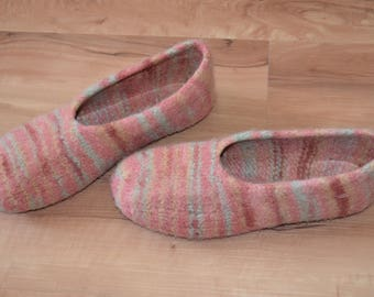 Gr. 42/43 (length 27 cm): felt House shoes with LaTeX sole - felted slippers with LaTeX sole