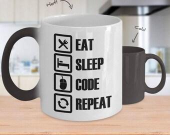 Color-Changing Gift Mug for Coder, Developer or Programmer - Eat, Sleep, Code, Repeat
