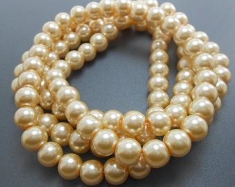 50 Cream Brulee Glass Pearl Beads 8mm round (H2048)