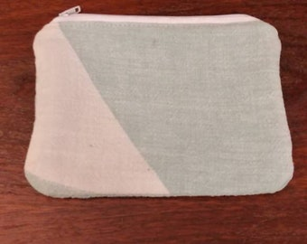 Reclaimed vintage Dewine's seed sack remnant zipper pouch