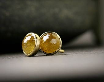 5mm yellow bezel set rose cut diamond studs solid 18k yellow gold 1.43 ct total weight