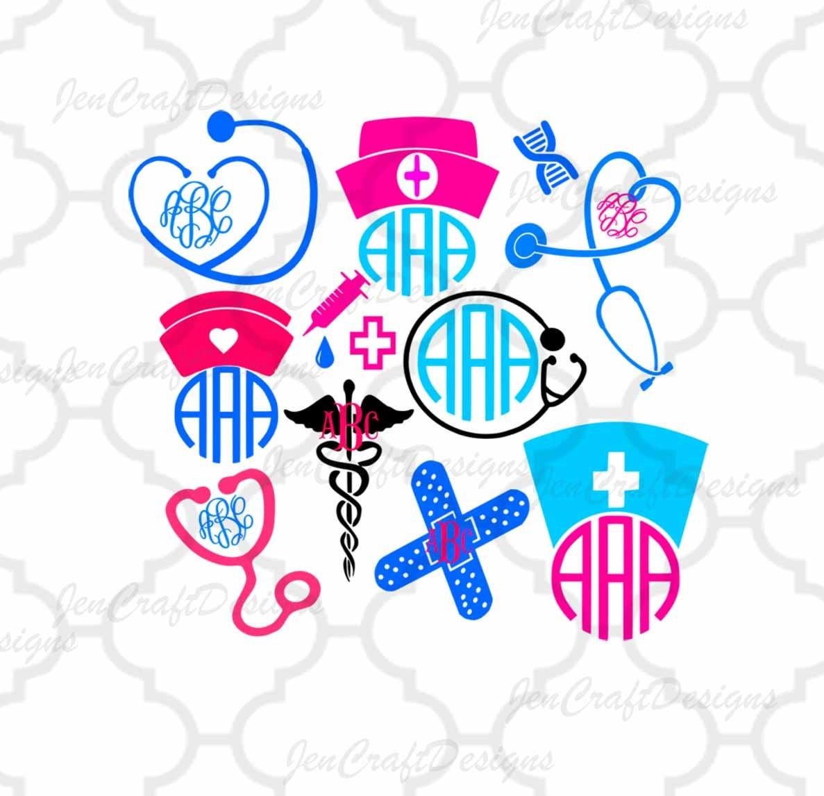 Nurse SVG Stethoscope SVG Nursing Svg EPS Png Dxf, cut file set for ... for Nursing Symbol Png  155fiz