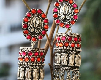 Indian jewelry, traditional jewelry,Afghani crystal stone studded earrings