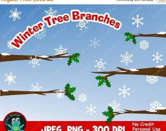 75% OFF SALE Winter Tree Branches Clipart, Snow Tree Limbs Clipart, Snow Branches Clipart, Holly Leaf Branch, Tree Elements - UZ821
