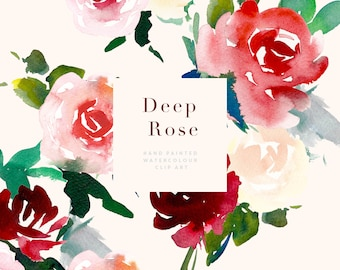 Hand Painted Watercolour Flower Abstract Clipart - Deep Rose