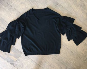 Vneck Sweater with Exaggerated sleeves