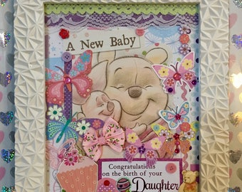 New Baby gift, framed congratulations card, framed nursary art