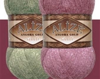 Angora Gold Silvery Yarn ,  Hand-knitting yarns , Alize Angora Silvery Gold  75% Acrylic Yarn knitting crochet 500m 100g