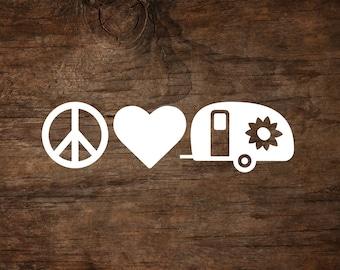 Peace, Love & Camping Teardrop Window Decal