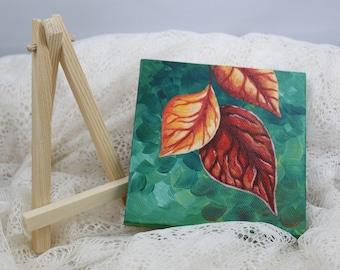 "Tiny Original Autumn Leaf Acrylic Painting 4""X4"""