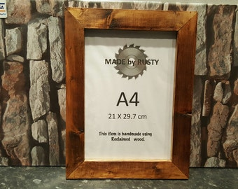 Rustic reclaimed timber A4 picture photo frame dark oak waxed