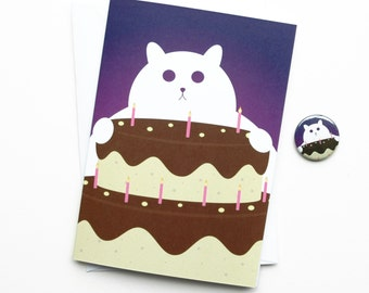 Funny Birthday Card, Cat with Birthday Cake, Fat Cat with Cake Card, with Badge