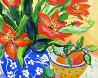 Original painting canvas art Asian floral 16 x 20 Fine art by Elaine Cory