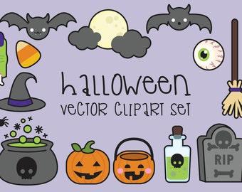 Premium Vector Clipart - Halloween Clipart - Spooky Halloween Clip art Set - High Quality Vectors - Instant Download - Kawaii Clipart