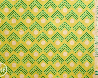 Framework Corners CANVAS in Chartreuse, Ellen Baker for Kokka Fabrics, Cotton and Linen Canvas Fabric, JG-41900-902B