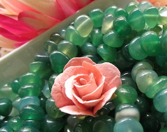 Green Agate Pebbles 6-9mm 5 inches (12cm)