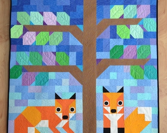 Modern Foxes quilt pattern, Wall Quilt, baby quilt Pattern, PDF, instant download, KONA, blue, orange, purple, green.