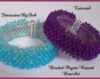 Tutorial Bead Peyote Raised Bracelet  - Jewelry Beading Pattern, Beadweaving Instructions, PDF, Do It Yourself, How To