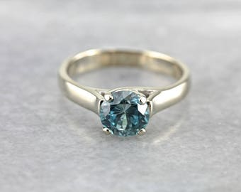 Blue Zircon Solitaire White Gold Ring, Simple Blue Zircon Ring, Blue Zircon Solitaire L8QTWN-P