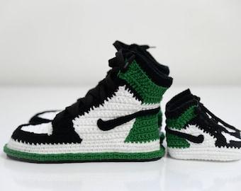 Mother baby matching shoes,Crochet Air Jordan 1 Retro Green Sneaker,shoes, air jordan 1 flyknit, jumpman shoes, crochet sneaker, baby jordan