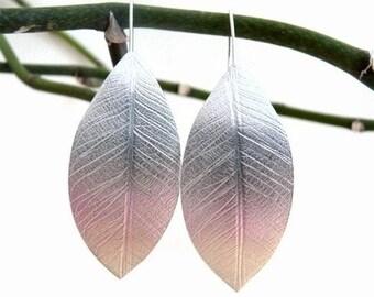 Sterling silver leaf  earrings. Silver leaves earrings. Organic jewellery. Large drop earrings. Silver jewellery. Handmade.