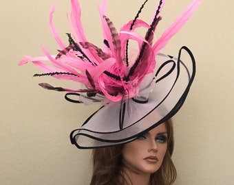 White Black Pink headband feathers fascinator hat kentucky derby races