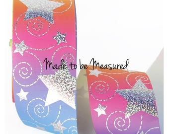 Grosgrain Ribbon - 3 Inch - 75 mm - Print by the Metre - Graduating & Foil Stars