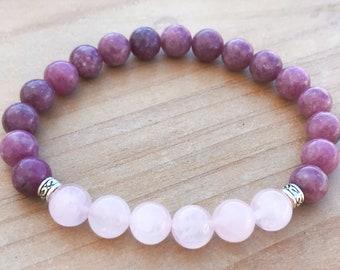 Lepidolite Bracelet, Rose Quartz Bracelet, Healing Bracelet, Wrist Mala, Yoga Bracelet, Spiritual Bracelet, Boho Bracelet, Energy Bracelet