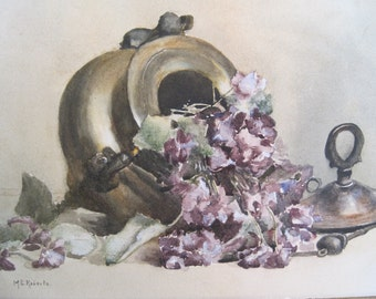 Antique Watercolor Still Life Floral Violets Copper Container Signed M.E. Roberts