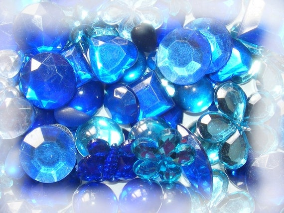 Cabochons acrylic stick 5 ~ 20mm Mixed Color blue x 10