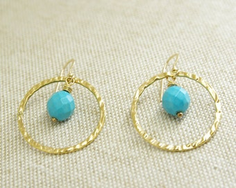 Turquoise Jewelry Dangle Earrings 14kt Gold Fill Circle Jewelry Turquoise Earrings Gold Hammered Jewelry Natural Stone Earrings