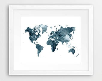 World map watercolor print world map watercolor black and world map watercolor print world map poster watercolor map art green indigo modern gumiabroncs Images
