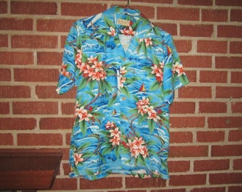 "Vintage 1950s Vivid Blue Men's Rayon Hand Print Shirt with ""Pali Hawaiian Style"" Label"