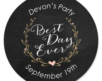 Best Day Ever Circle Stickers - Personalized Bridal Shower DIY Craft Supplies - Bachelorette Party Sticker Labels - 24 Stickers